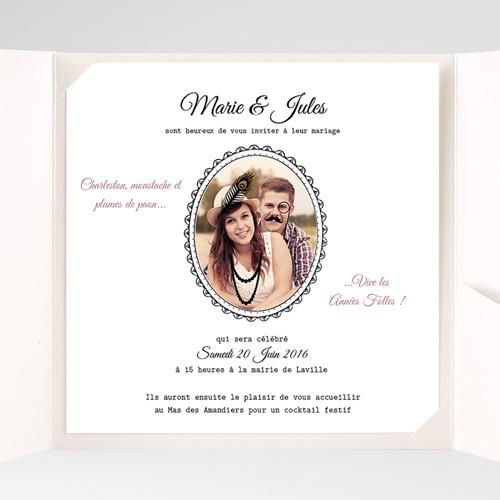 Faire-Part Mariage Pochette carré - Années Folles 38222 thumb