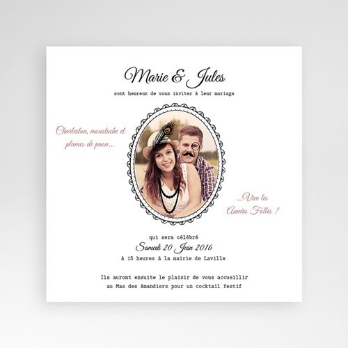 Faire-Part Mariage Pochette carré Années Folles
