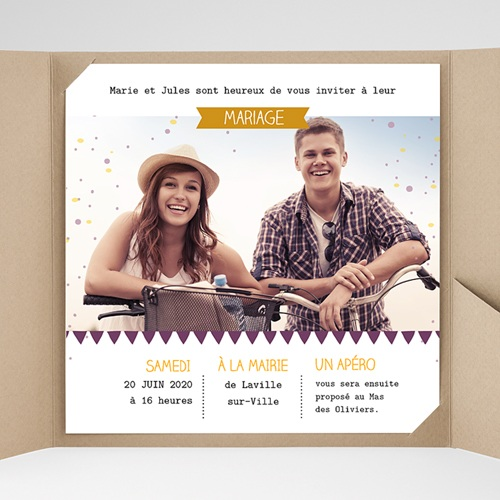 Faire-Part Mariage Pochette carré - Photos et confetti 38229 preview