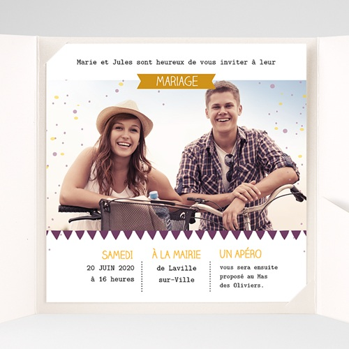 Faire-Part Mariage Pochette carré Photos et confetti pas cher