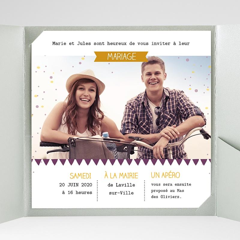 Faire-Part Mariage Pochette carré Photos et confetti gratuit