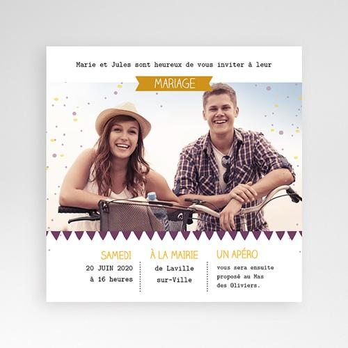 Faire-Part Mariage Pochette carré - Photos et confetti 38232 preview