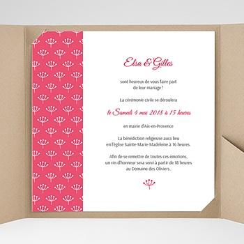Faire part de mariage pochette carré fleurs framboise
