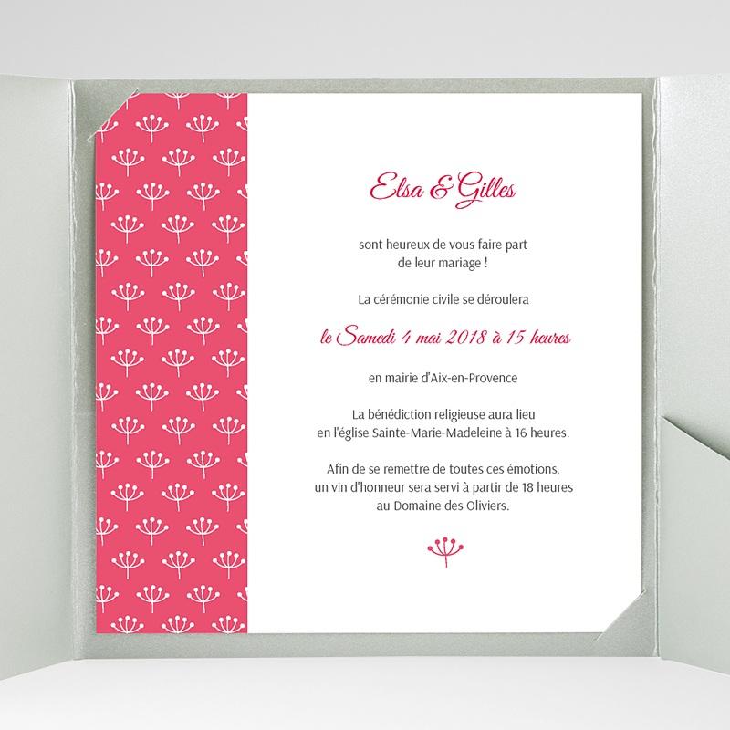Faire-Part Mariage Pochette carré Fleurs framboise gratuit