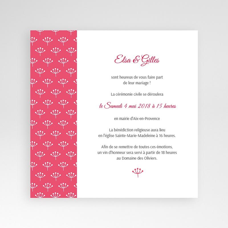Faire-Part Mariage Pochette carré Fleurs framboise