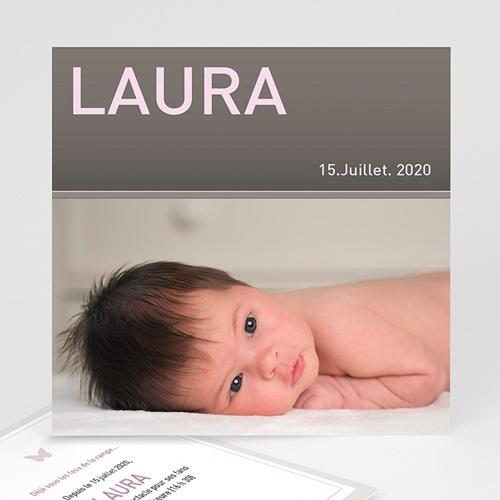 Faire-Part Naissance Fille - Laure-Gris 3826