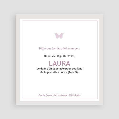 Faire-Part Naissance Fille Laure-Gris pas cher