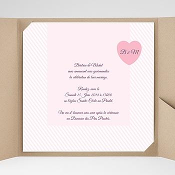Faire-Part Mariage Pochette carré - Rose bonbon - 0