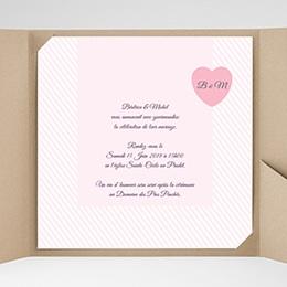 Faire-Part Mariage Pochette carré Rose bonbon