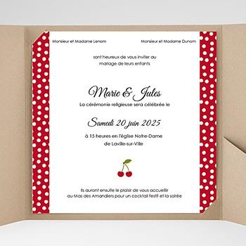 Faire part de mariage pochette carré le temps des cerises rouge et blanc