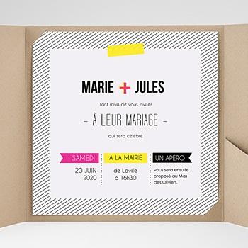 Faire-Part Mariage Pochette carré - Fluo - 0