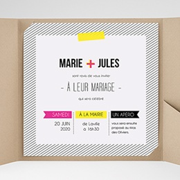 Faire-Part Mariage Pochette carré Fluo