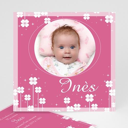 Faire-part naissance fille Petite Fleur - Rose