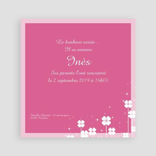 Faire-part naissance fille Petite Fleur - Rose pas cher