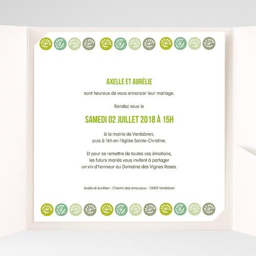 Faire-Part Mariage Pochette carré - Fleurs Champêtres 38402 thumb