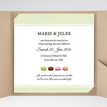 Faire-Part Mariage Pochette carré - Amour de macaron - 0