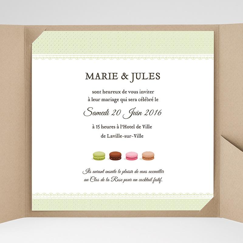 Faire-Part Mariage Pochette carré Amour de macaron