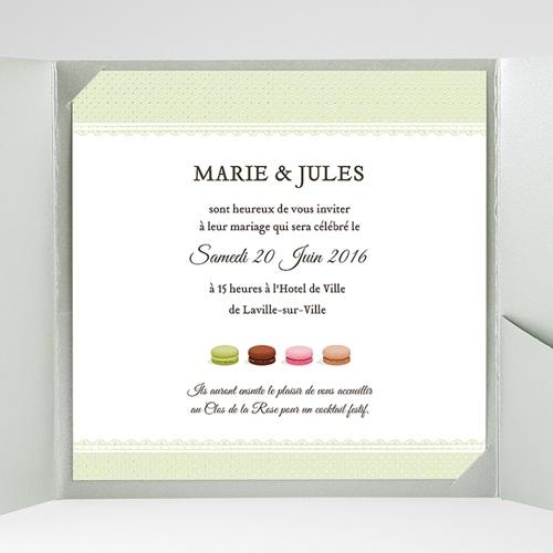 Faire-Part Mariage Pochette carré Amour de macaron gratuit