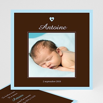 Faire-Part Naissance Garçon - Naissance du Bonheur - bleu et chocolat - 3