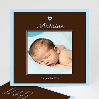 Faire-part naissance garçon Bonheur Bleu Chocolat