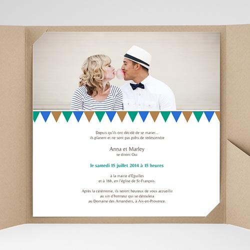 Faire-Part Mariage Pochette carré - Mosaïques Bleues 38425 thumb
