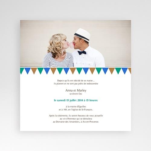 Faire-Part Mariage Pochette carré - Mosaïques Bleues 38428 preview