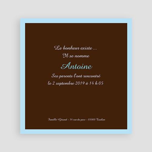 Faire-Part Naissance Garçon - Bonheur Bleu Chocolat 3843 thumb