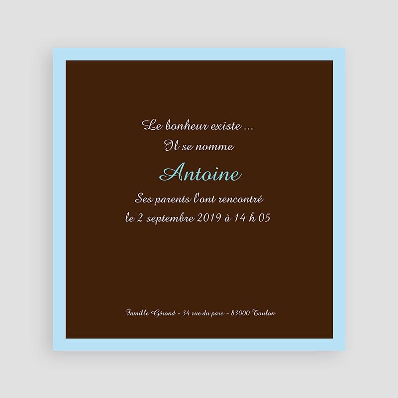 Faire-Part Naissance Garçon Bonheur Bleu Chocolat pas cher
