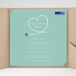 Faire-Part Mariage Pochette carré - Avion voyage - 0