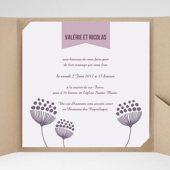 Faire part de mariage pochette carré violettes violet