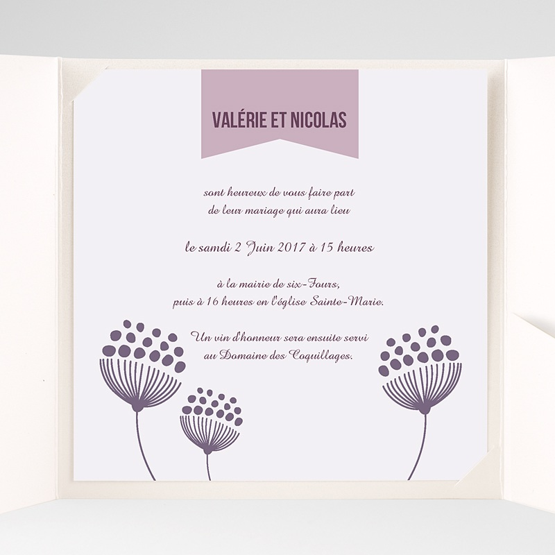 Faire-Part Mariage Pochette carré Violettes pas cher