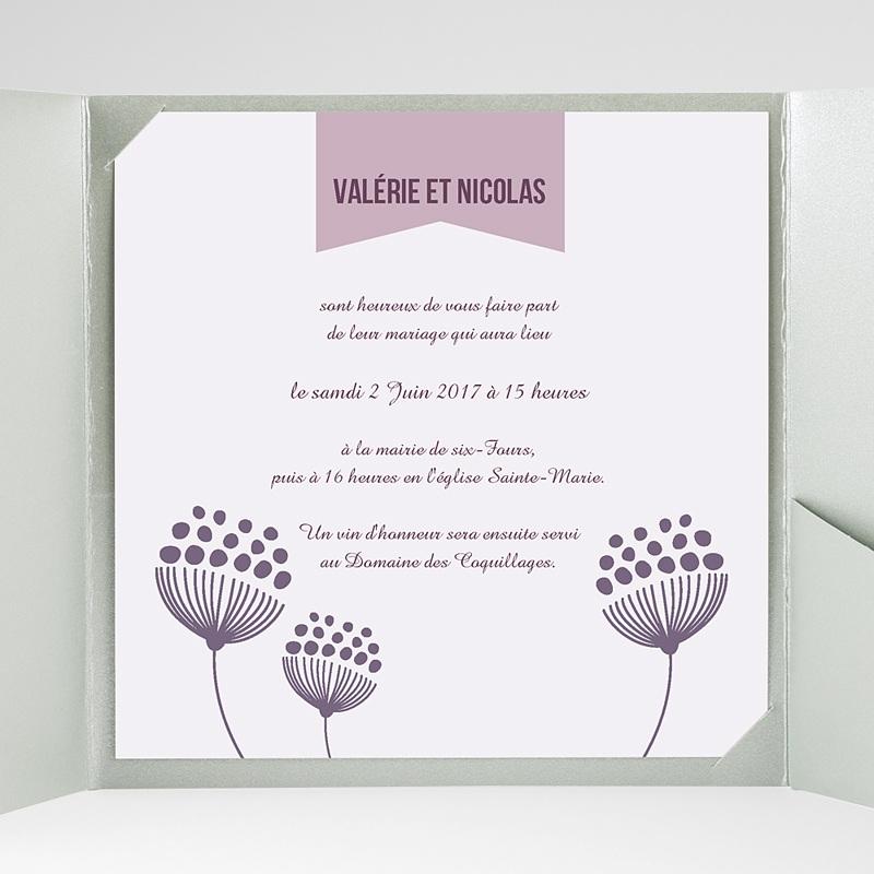 Faire-Part Mariage Pochette carré Violettes gratuit