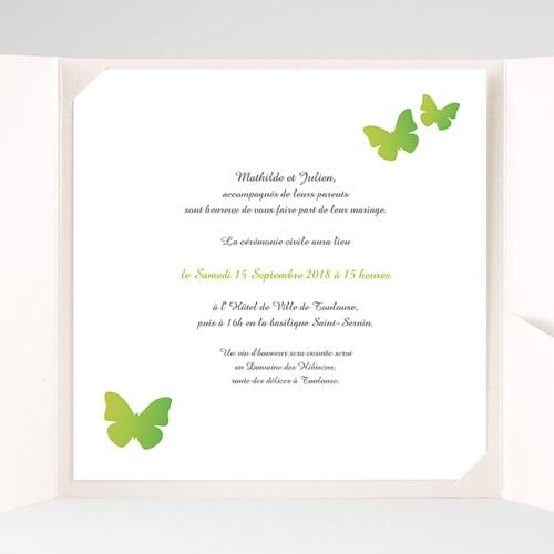 Faire-Part Mariage Pochette carré Papillons Pop de couleur pas cher