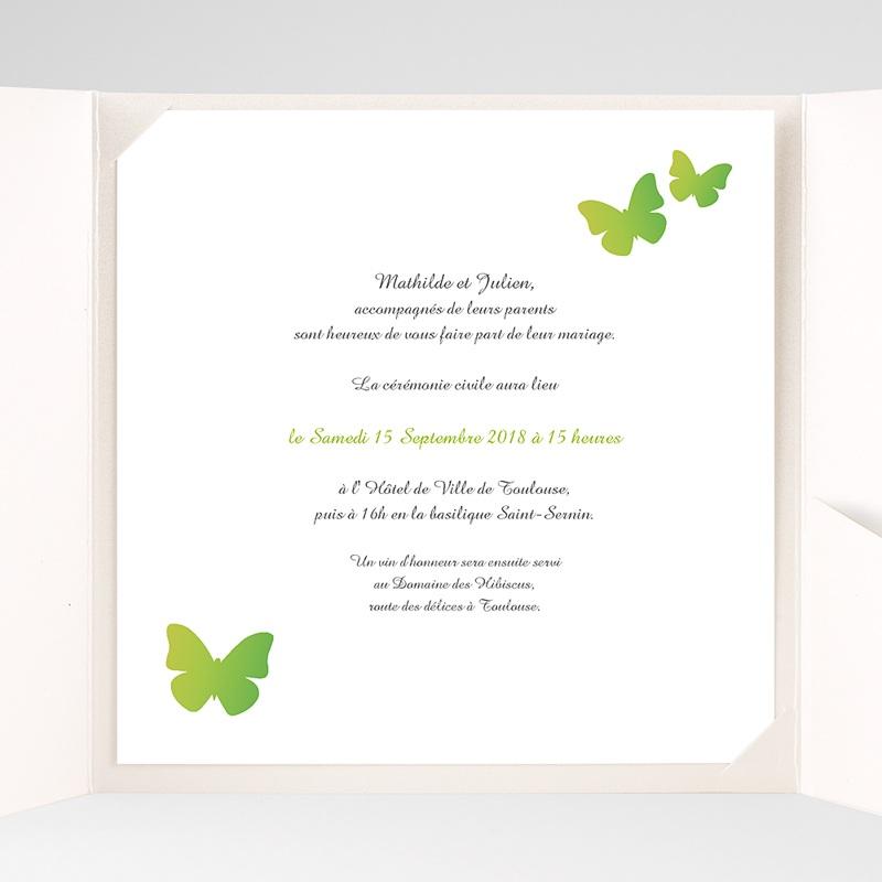 Faire-Part Mariage Pochette carré - Papillons Pop de couleur 38466 thumb