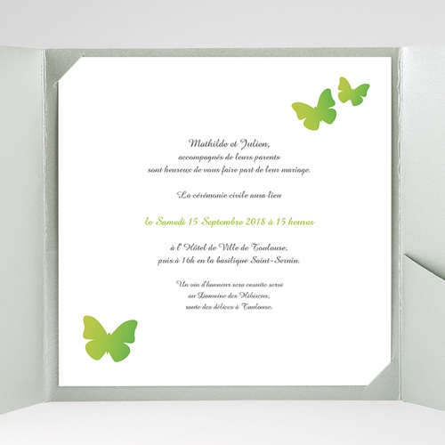 Faire-Part Mariage Pochette carré Papillons Pop de couleur gratuit