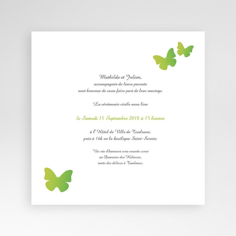 Faire-Part Mariage Pochette carré - Papillons Pop de couleur 38468 thumb