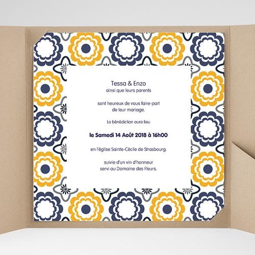 Faire-Part Mariage Pochette carré - Bleu marine et orange 38481 thumb
