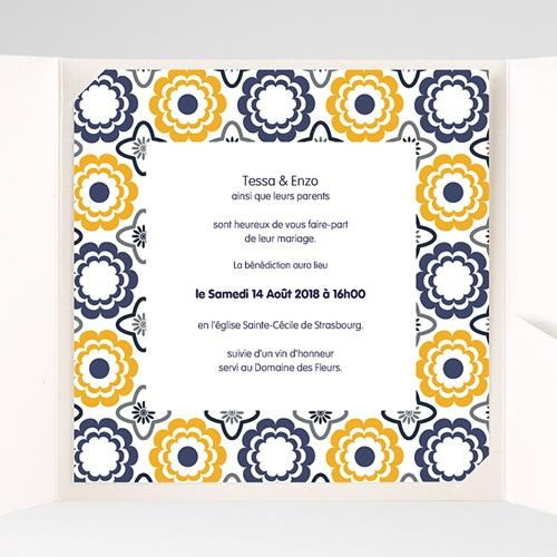 Faire-Part Mariage Pochette carré - Bleu marine et orange 38482 thumb