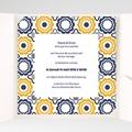 Faire-Part Mariage Pochette carré Bleu marine et orange pas cher