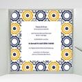 Faire-Part Mariage Pochette carré - Bleu marine et orange 38483 thumb