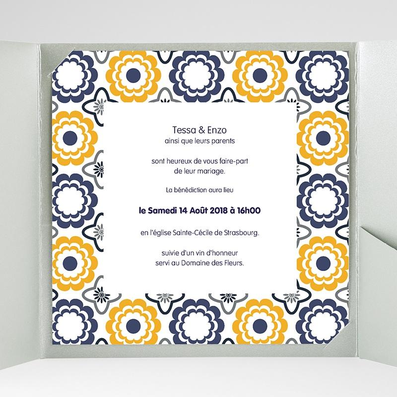 Faire-Part Mariage Pochette carré Bleu marine et orange gratuit