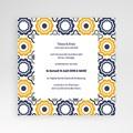 Faire-Part Mariage Pochette carré - Bleu marine et orange 38484 thumb