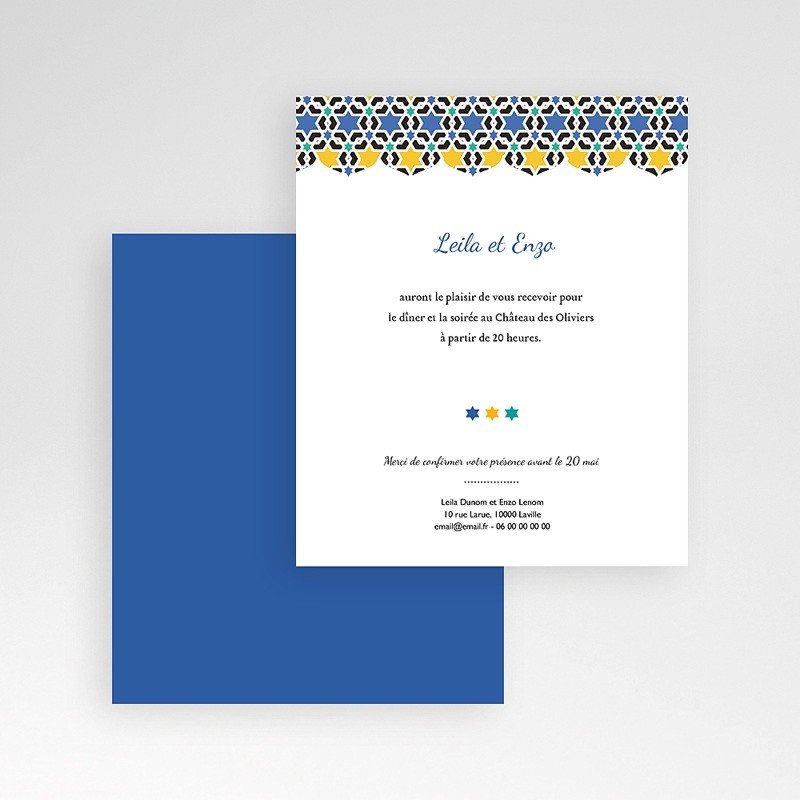 Carte d'invitation Bleu Orient gratuit