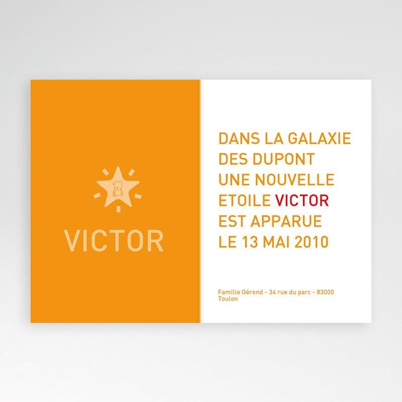 Faire-part naissance garçon Victor - Rayures Orange pas cher