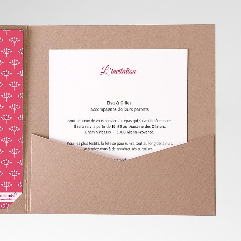 Carte d'invitation Fleurs framboise