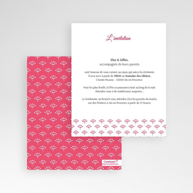 Carte d'invitation Fleurs framboise gratuit