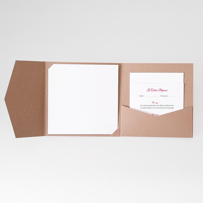 Cartons réponse Fleurs framboise