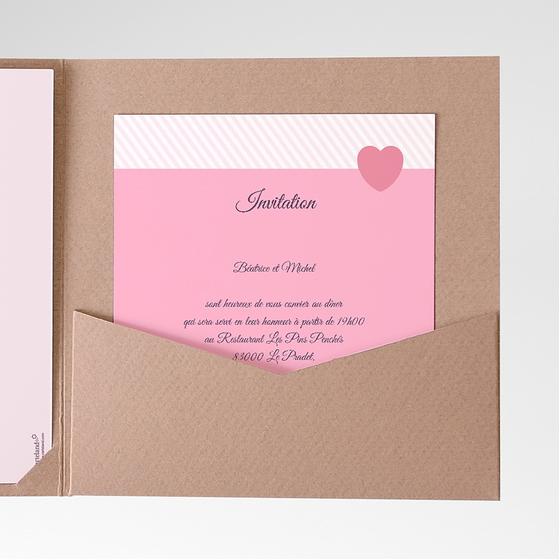 Carte d'invitation Rose bonbon