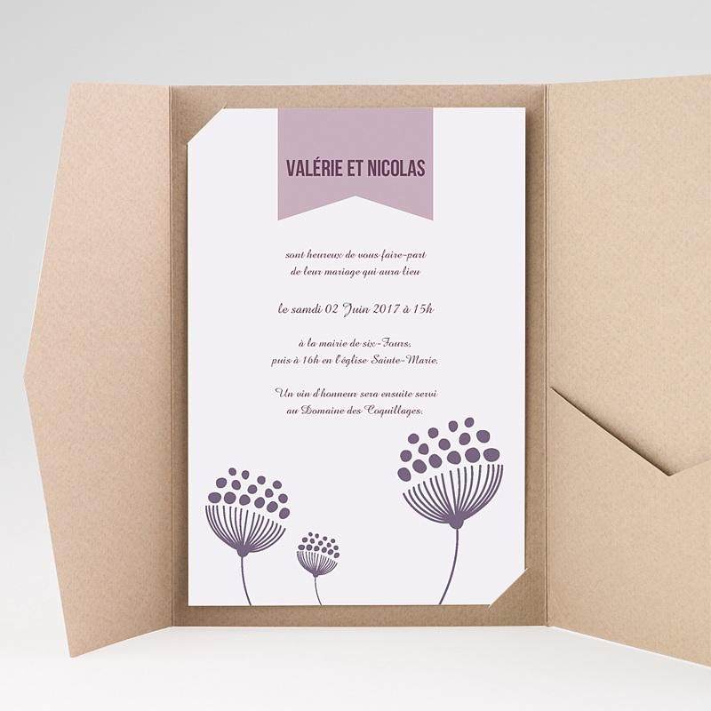Faire Part Mariage Pochette rectangulaire - Violettes 38933 thumb