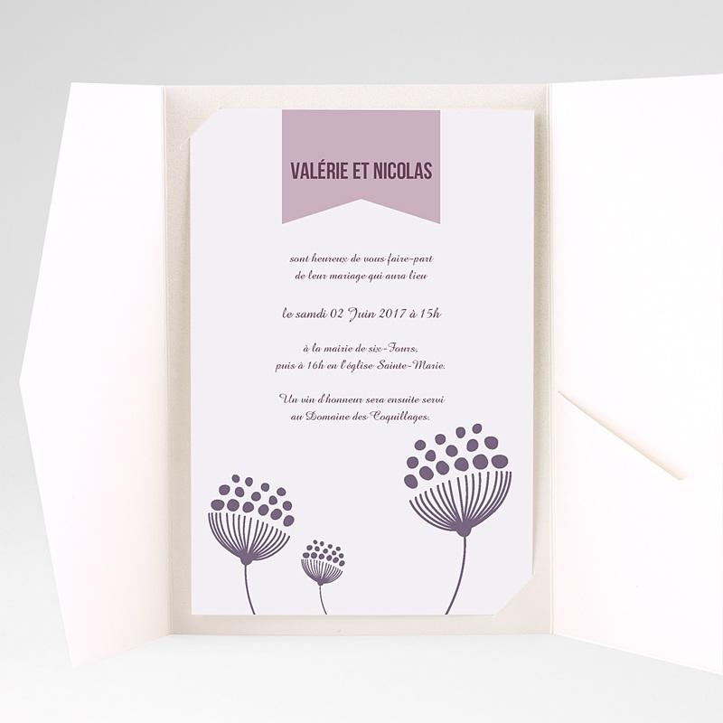 Faire Part Mariage Pochette rectangulaire - Violettes 38934 thumb